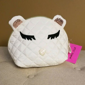 Quilted Bear White Betsey Johnson Cosmetic Bag NEW